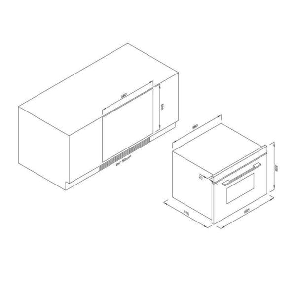 Lò nướng âm tủ Malloca MOv-65DA (kính trắng)