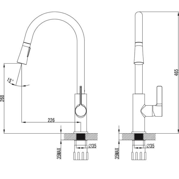 Vòi chậu rửa chén K012C