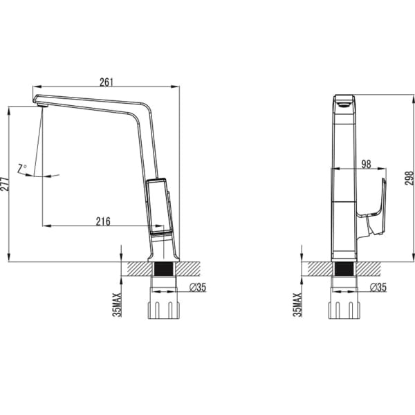 Vòi chậu rửa chén K014C