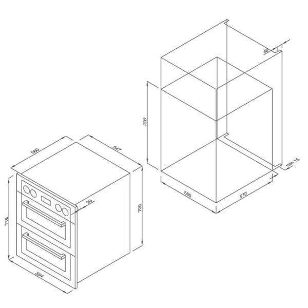 Malloca MDO-80BL Lò nướng đôi âm tủ