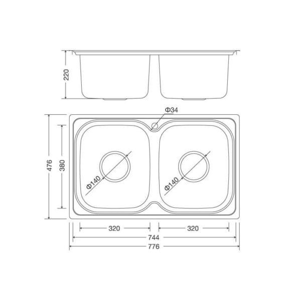 Malloca MS1001 NEW | Chậu rửa chén bán thủ công