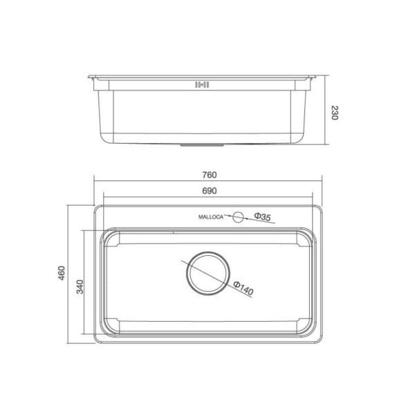 Malloca MS1022D | Chậu rửa chén bán thủ công