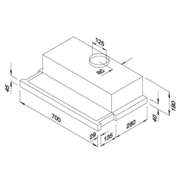 Máy hút mùi âm tủ H205.7-G